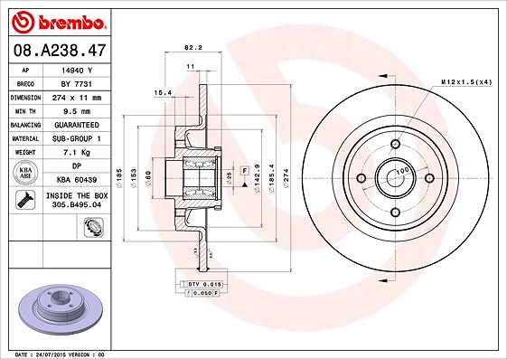 brembo 1x bremsscheibe hinterachse mit abs ring lager. Black Bedroom Furniture Sets. Home Design Ideas