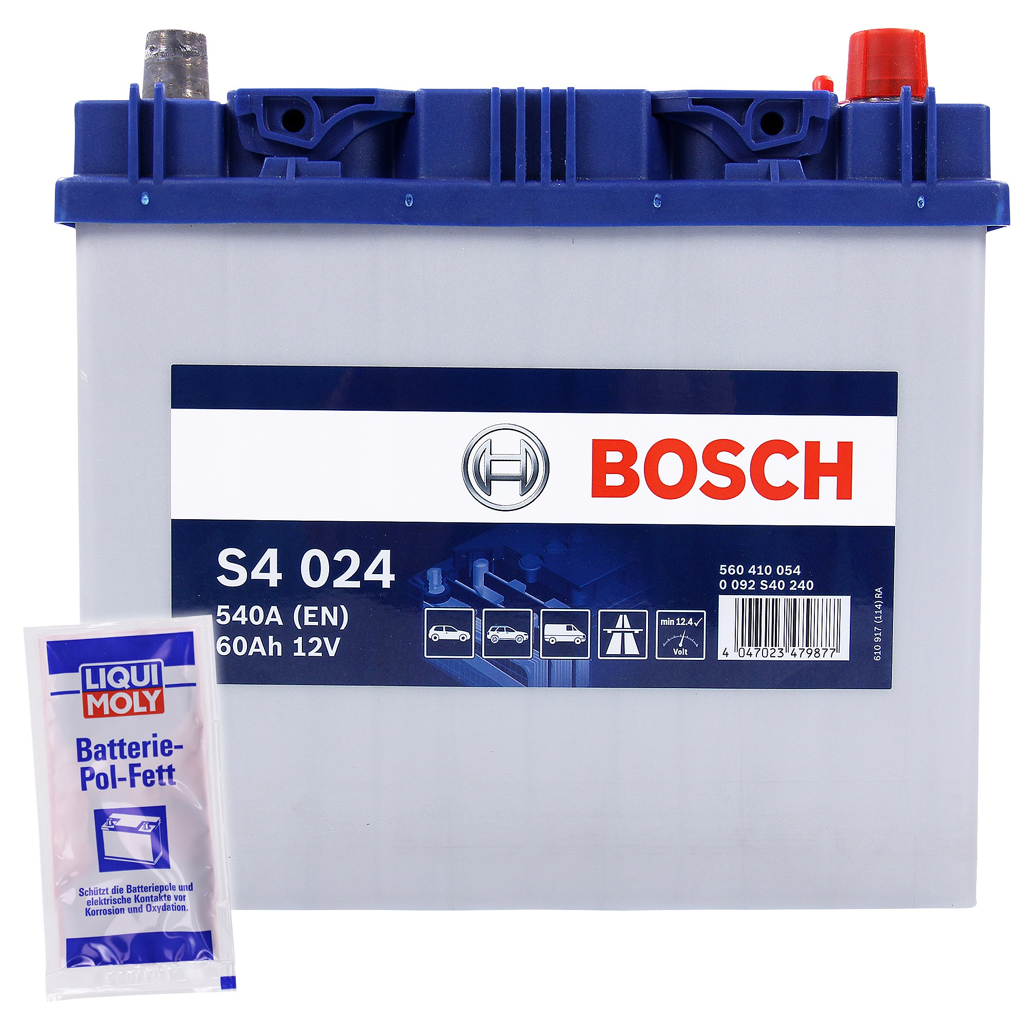 bosch starterbatterie s4 024 60ah 540a 12v 10g pol fett atp autoteile. Black Bedroom Furniture Sets. Home Design Ideas