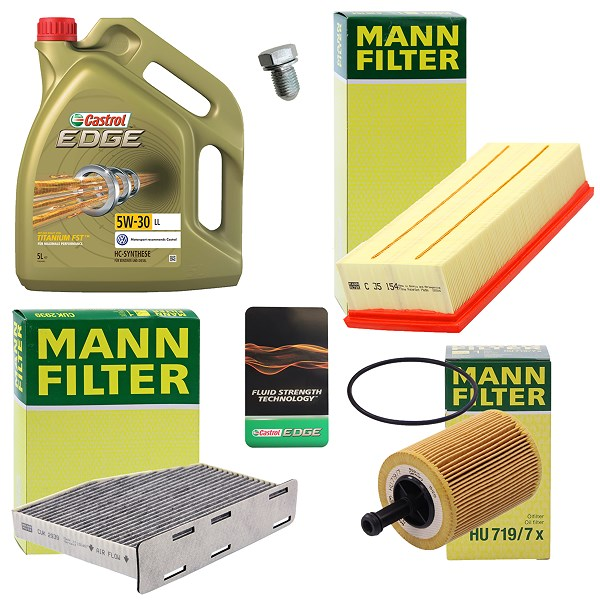 mann filter inspektionspaket a 5l castrol edge fst 5w 30. Black Bedroom Furniture Sets. Home Design Ideas